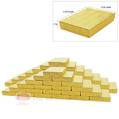 Large 50 Gold Foil Cotton Filled Jewelry Gift Boxes 5 38 X 3 78 X 1h Charm