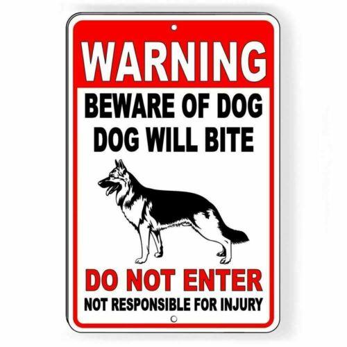 WARNING Beware Of Dog Will Bite Do Not Enter German Shep Heavy Duty Metal Sign