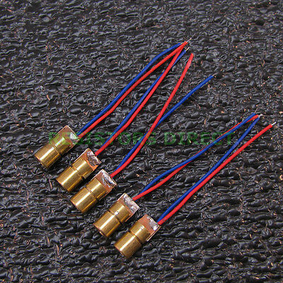 5x 650nm 6mm 5v 5mw Red Laser Dot Diode Module Copper Head 5pcs T22