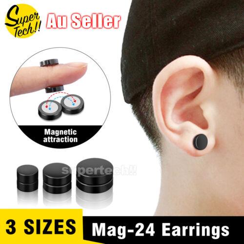 Jewellery - No Piercing Flat Round Black Magnetic Ear Stud Earrings Mens Womens Jewellery