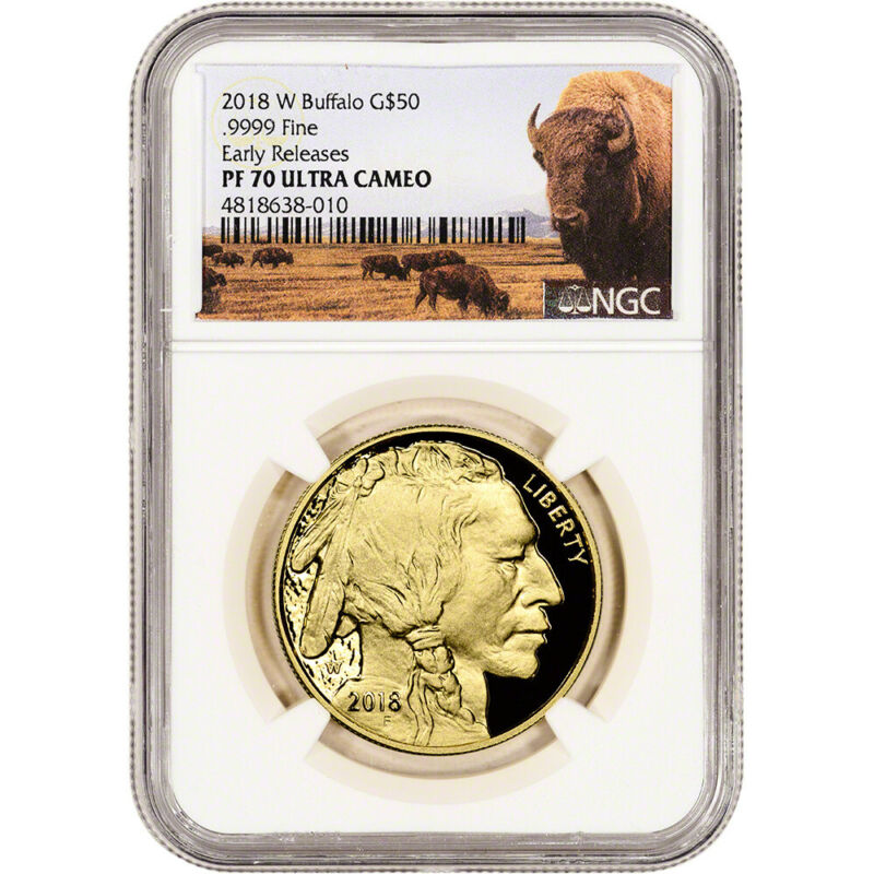 2018-W American Gold Buffalo Proof 1 oz $50 NGC PF70 Early Releases Bison Label