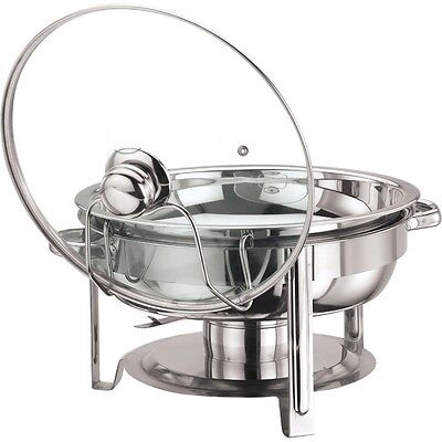 STAINLESS STEEL ROUND CHAFING DISH GLASS LID 4.5 LITRE 30CM DIAMETER