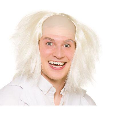 Verrückter Wissenschaftler Verrückt Mann Halloween Kostüm Perücke Weiß ()