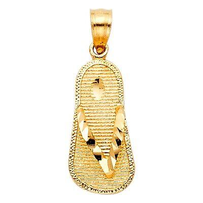 Summer Sandal Charm 14k Yellow Pure Gold 17 x 9mm Diamond Cut Flip Flop Pendant 14k Sandal Pendant