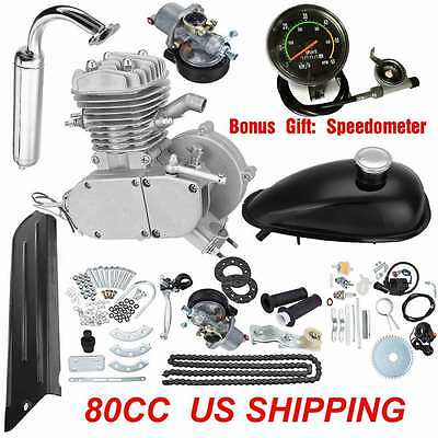 2-Stroke 80cc MOTOR ENGINE KIT GAS FOR MOTORIZED BICYCLE CYCLE BIKE SPEEDOMETER