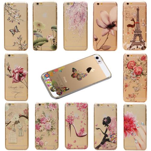 Hot Flowers Scenery Patterns Transparent Hard Case Cover For iPhone 5S 5C 6 6S