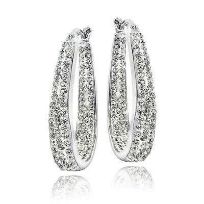 Crystal Inside Out Oval Hoop Earrings In Brass  3 Colors