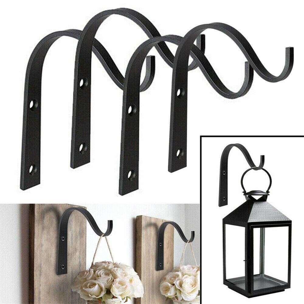4x Iron Hanging Hook Bracket Garden Basket Planter Lantern Hanger Hooks