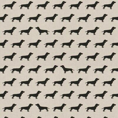 Dachshund sausage dog Design Fabric Linen Look Craft Curtains 140cm Wide metre, used for sale  Newcastle upon Tyne