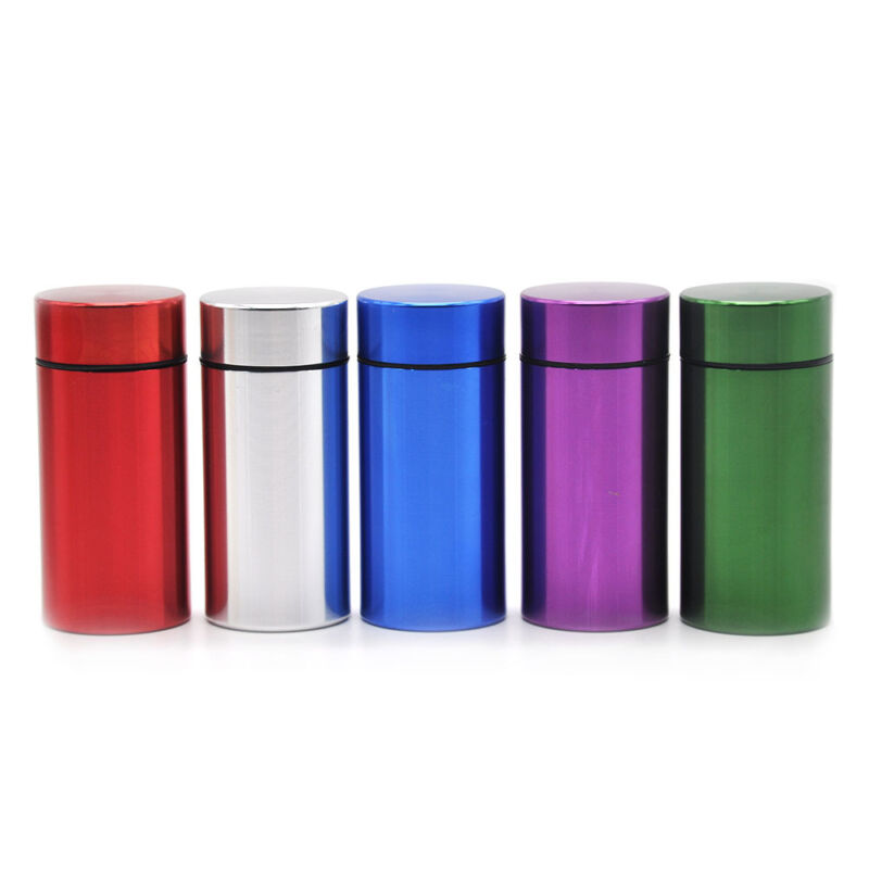 HONEYPUFF Stash Jar Airtight Smell Proof Aluminum Herb 2 Layers Container Blue