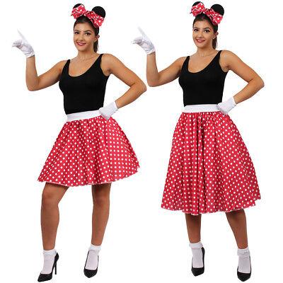 MÄUSE KOSTÜME FRAUEN ZEICHENTRICK MICKY ROCK OHREN MAUS VERKLEIDUNG POLKA DOT (Frauen Disney Kostüme)