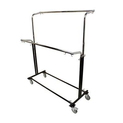 Adjustable Double Parrallel Bar Retail Rack Clothes Hanger W Swivel Wheels Lock