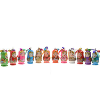 12PCS Wood For Car Key Chains Russian Dolls Matryoshka Key Rings