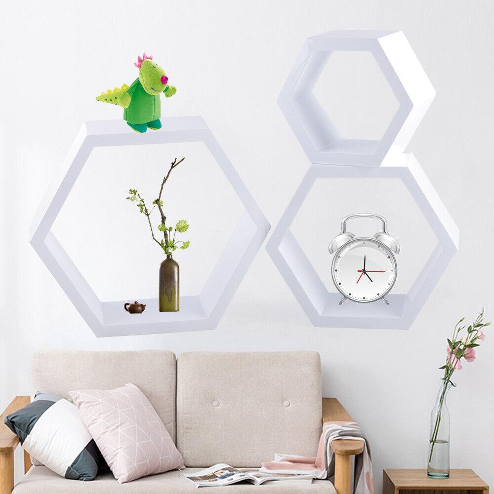 Hexagon Wood Shelf For Wall Floating Shelf Book Display Storage Shelf White USA - $36.95