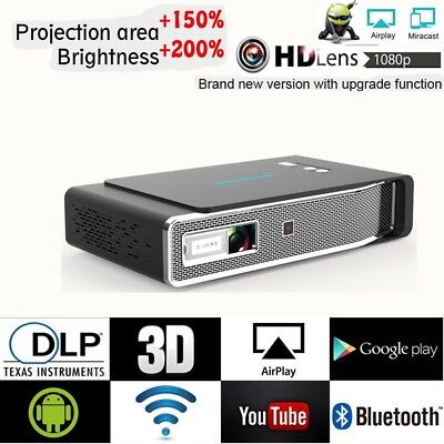 New Toumei V5 Android 3D HD 4K DLP Projector Wifi Home Cinema HDMI USB 8500Lumen