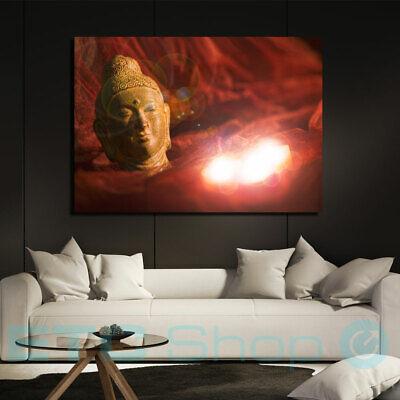 LED Pared Imagen Conmutable Velas Buda Decoración Salón Motivo Lienzo Iluminado