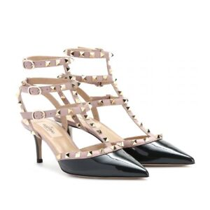 Authentic Valentino Kitten Rockstud 37 in Patent Black