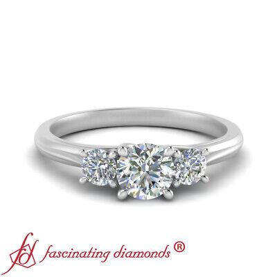 White Gold 3 Stone Round Cut Diamond Trellis Engagement Ring For Women 0.90 Ctw 1
