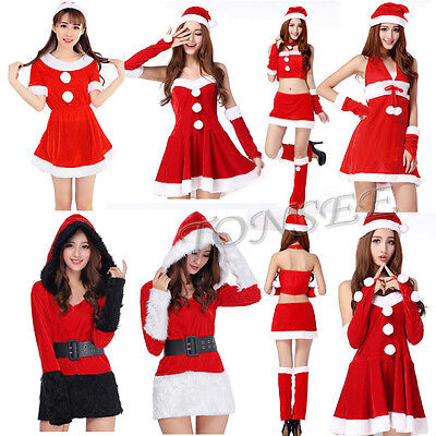 Sexy Women's Santa Claus Christmas Costume Cosplay Party Outfit Fancy Dress
