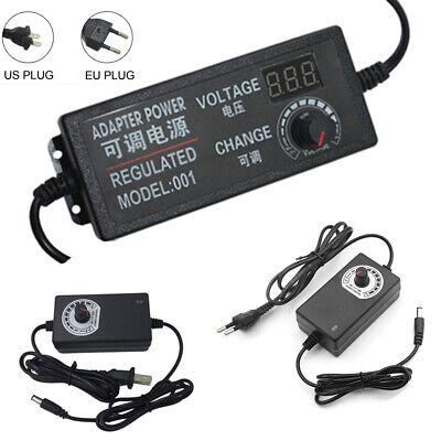 Multi-Voltage 3V-24V Adjustable DC Power Supply Switch US/EU Adapter AC 100-240V