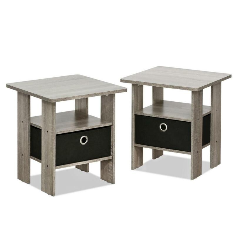 French Oak Grey Style End Tables With Black Drawers Set of 2