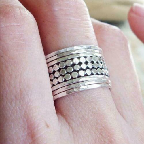 Set of 9 Mixed Thin Solid 925 Sterling Silver Stacking Ring Hammered Statement