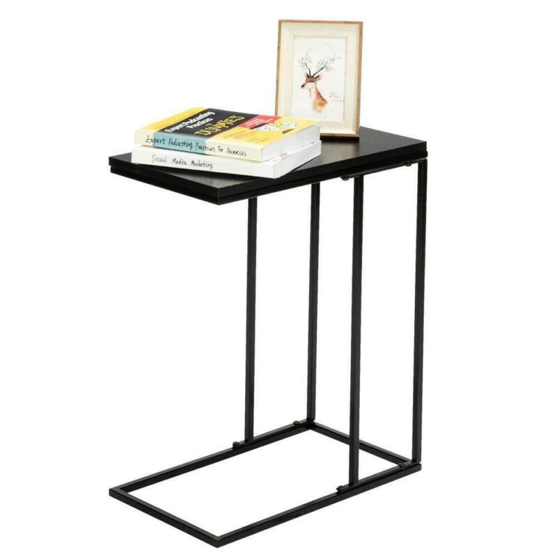 C-Shaped Side Sofa End Table - Snack TV Tray for Small Spaces