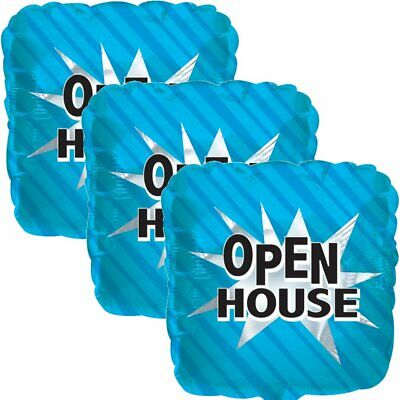 3 pc Blue Open House Square Store Promotional Foil Balloon Re-Usable - Balloon Stores