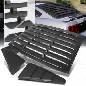 Black Rear+Side 1/4 Window Louvers Sun Shade Cover Vent for 05-14 Ford Mustang