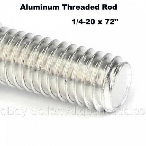 "1/4-20 x 72"" Aluminum All Thread Rod  Fully Threaded 6 Ft Length  Grade T6061"