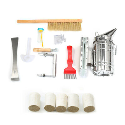 14pcs Beekeeping Toolssupplies Kit Bee Hive Smoker Bee Brsuh Accessory Honey