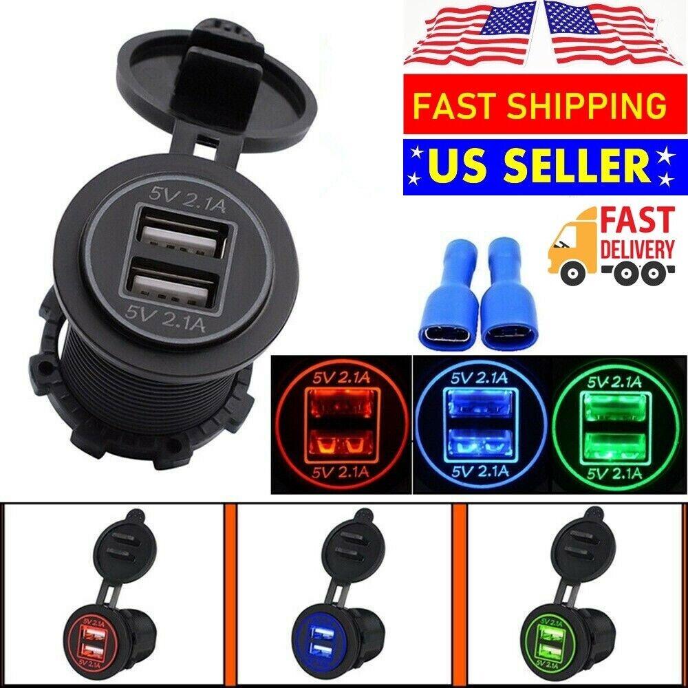 12V Car Lighter Cigarette Socket Splitter Dual USB Charger Power Adapter Outlet Cell Phone Accessories
