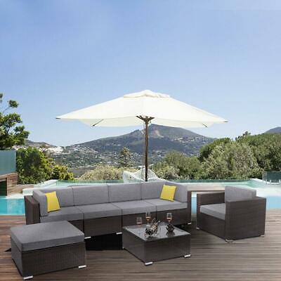Garden Furniture - 7PCS Patio Rattan Garden Furniture PE Wicker Sofa Set Backyard Outdoor Brown