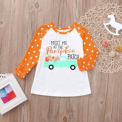 Toddler Kids Baby Girls Ruffle Letter Pumpkin Tops T-Shirt Halloween Clothes](Halloween Pumpkin Toddler Shirt)