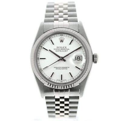 Rolex Datejust 16014 36mm Watch White Stick Dial & 18k White Gold Fluted - Bezel White Stick Dial