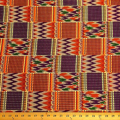 Kente African Print Fabric 100% Cotton 44'' wide sold by the yard (19007-3)