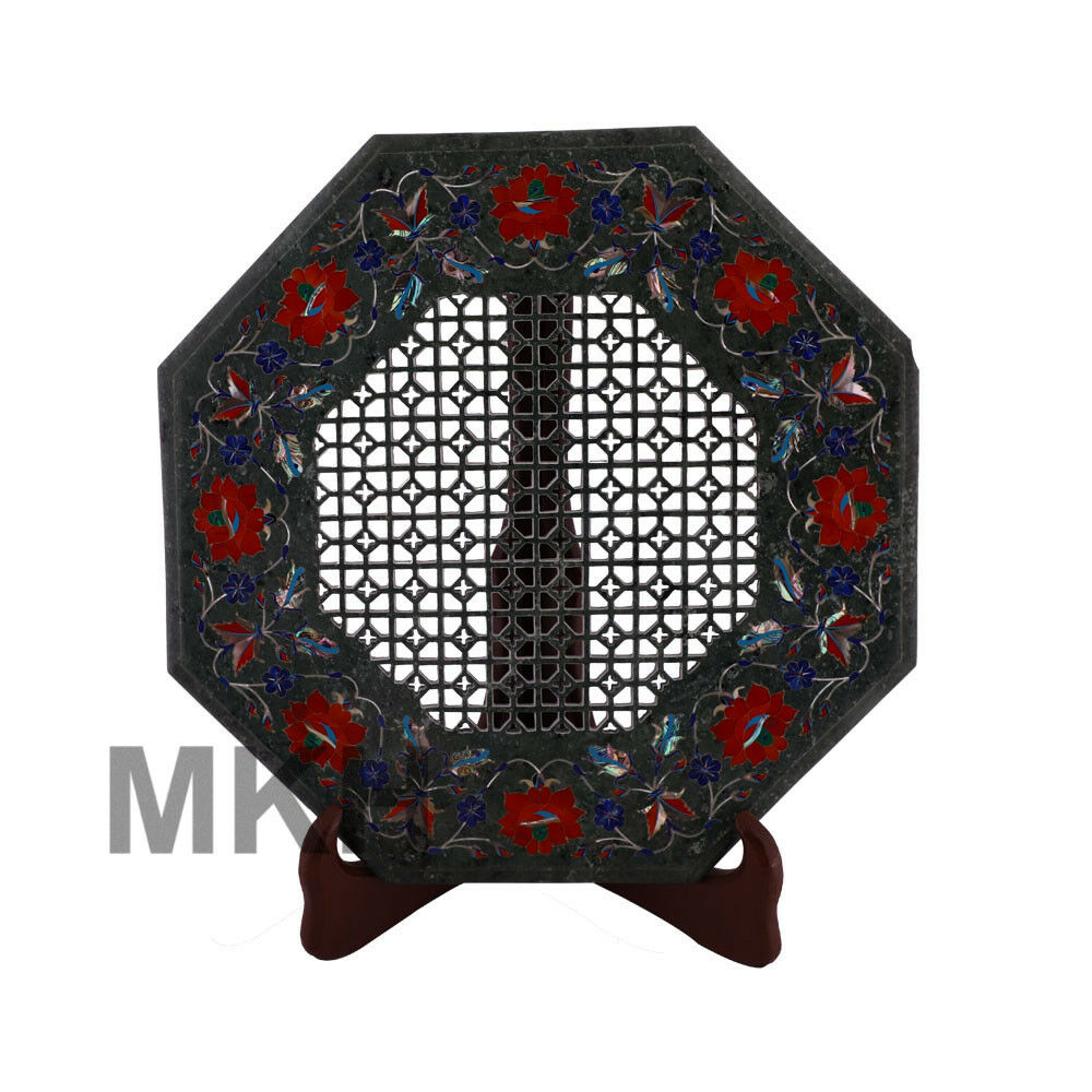 """15"""" Green Marble Coffee Table Top Rare Marquetry Inlay Mosaic Side End Decor"""