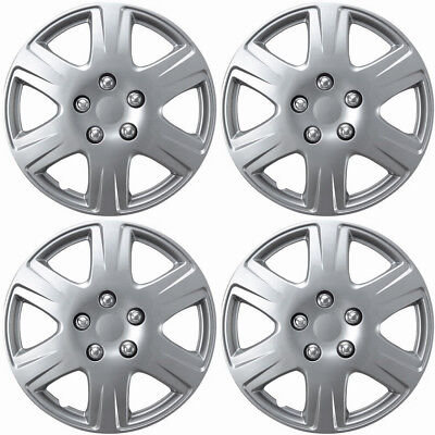 """New Set of 4 15"""" Silver Replacement Hubcaps for 2005-2008 Toyota Corolla"""