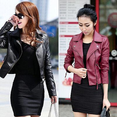New Vintage Women Slim Biker Motorcycle PU Soft Leather Zipper Jacket Coat Hot