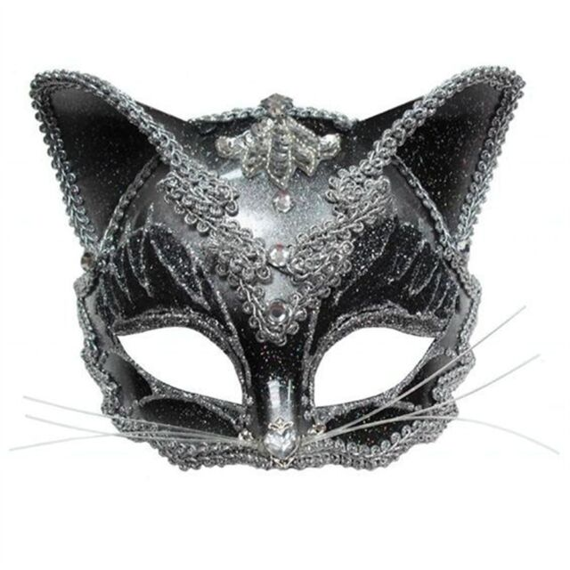 Black Jewelled Cat Eye Mask On Headband - Adults Silver Masquerade Ball Party