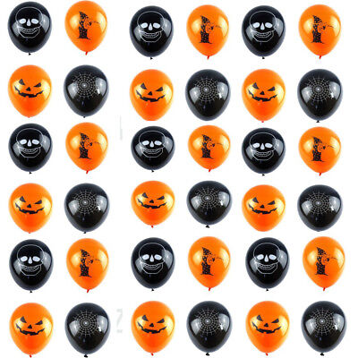 Bulk Balloons Black Orange Spider Pumpkin Witch Skull Halloween Party job Lot
