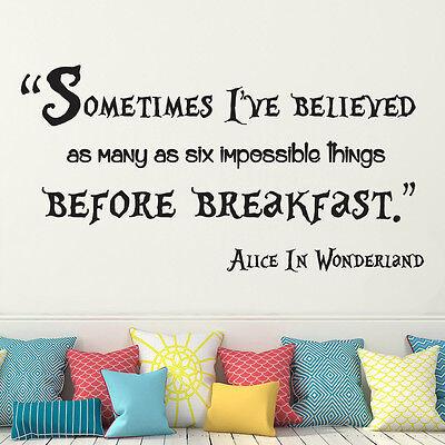 Alice In Wonderland Sometimes Quote Mad Hatter Wall Art Vinyl Decal Sticker DIY ()