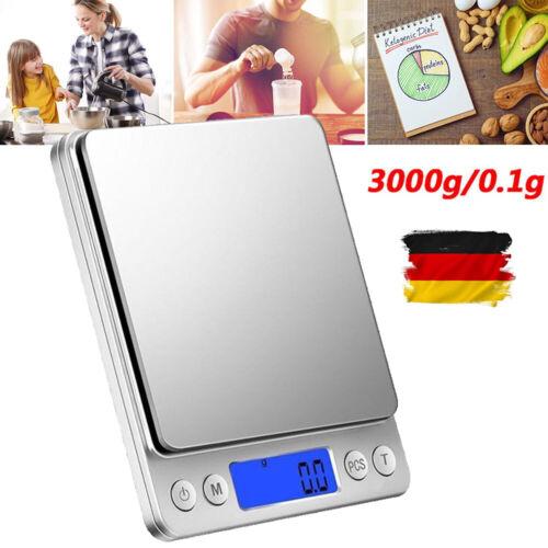 3kg/0,1g Digital Küchenwaage LCD Edelstahl Waage Briefwaage Feinwaage Scale 3KG