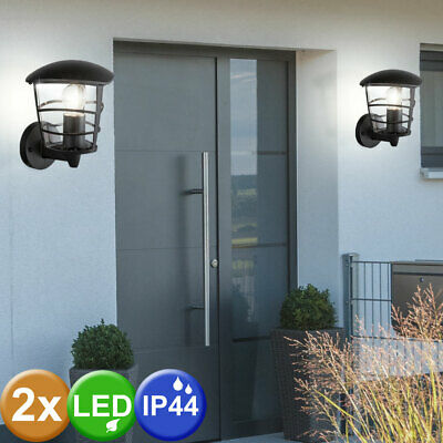 Set of 2 LED ALU wall lantern exterior facades lighting terraces lamp black