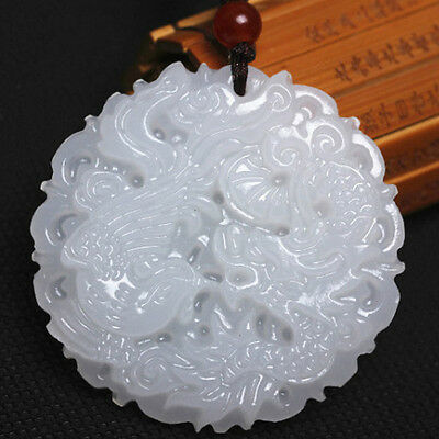 1PC New White Chinese Jade Natural Hand-carved Pendant Dragon&Phoenix Amulet