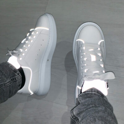Alexander McQueen Exaggerated Sole White Reflective Trainers *100% Genuine* BNWB