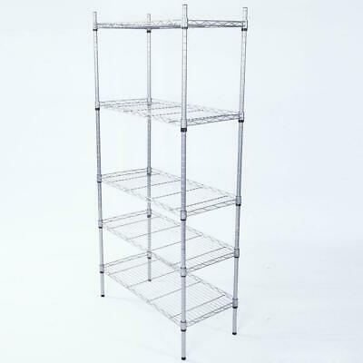 5-shelf Rectangle Carbon Steel Metal Assembly Storage Rack Silver Gray Us