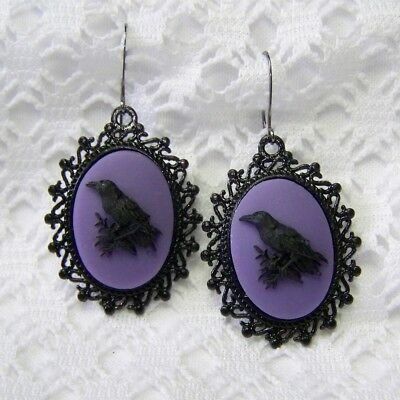 Raven Earrings, Odin Black Bird Crow Earrings, GOTH STEAMPUNK Witch Halloween - Odin Halloween