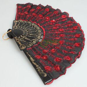 Ladies-Fabric-Hand-Held-Fan-Xmas-Party-Dancing-Wedding-Fan-Red-Sequins-Black