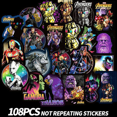 108Pcs MARVEL Avengers Thanos DC Stickers Vinyl Decal Car Skateboard Luggage DIY